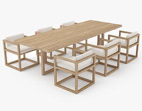 3D model Restoration Hardware Aviara Teak Dining Table and