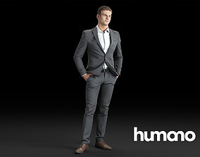 Humano Elegant business man standing and smiling 3D model