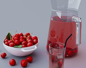 3D Cherry Cherries Juice of cherries
