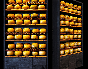 Shelves with cheese 3D