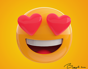 Emoji Smiling Face with Heart Eyes 3D asset