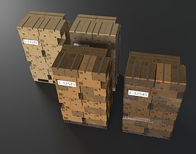 EUR Wood Pallet with box in strach set 3D asset