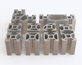 extrusion Profile aluminium 01 3D model