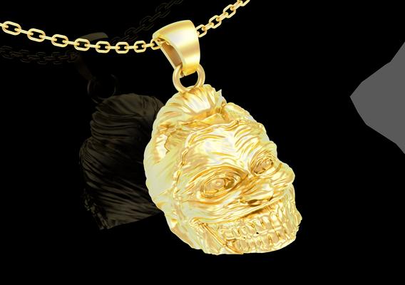 Miss Joker head Sculpture pendant jewelry gold necklace medallion 3d model