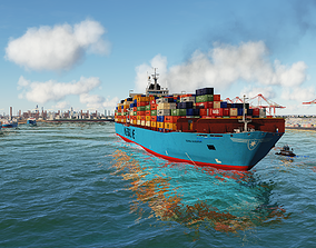 3D asset Maersk ship and tugboat