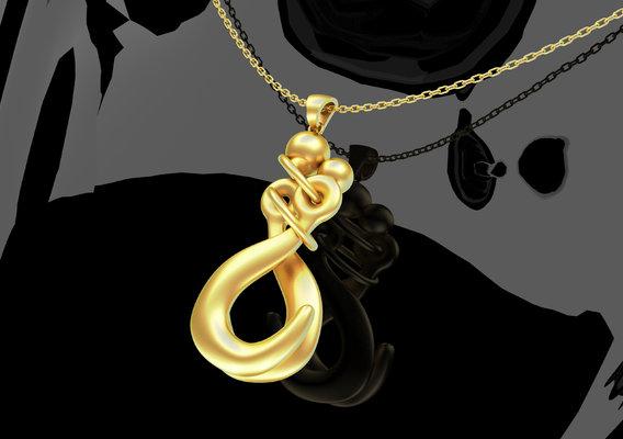 Metal Love Kiss Pendant Jewelry 3D print model