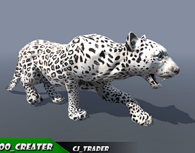 animated Lowpoly Wild Animals White Leopard Rigged 3D