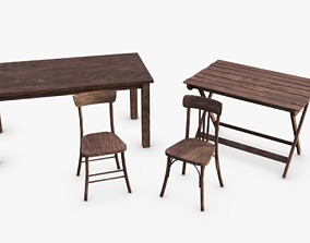 3D model Bunker Tables and Chairs WWII