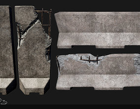 3D asset Low Poly PBR Concrete Barrier and Blast Wall Pack