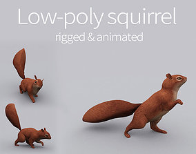 3D model rigged animated squirrel chipmunk