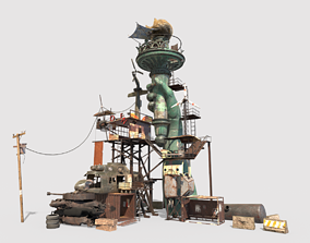 Post-Apocalyptic Base With Statue Of Libertys 3D model