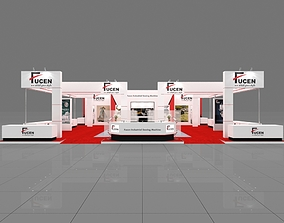Exhibition stall 3d model 14x17mtr 3 sides open Stand