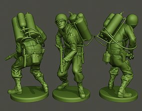 American soldier ww2 action A6 3D print model