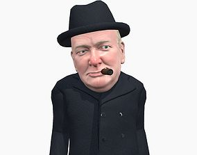 3D model Winston Churchill caricature