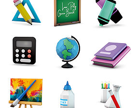 3D asset low-poly Low Poly School Supplies