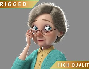 Cartoon Old Woman Rigged 3D model