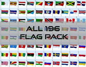 3D asset All 196 Flag Pack
