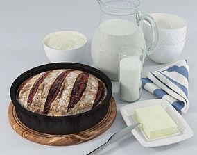 3D Still Life Bread and Milk