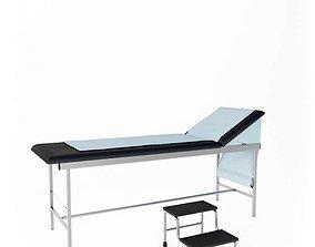 Hospital Examination Table With Stool 3D