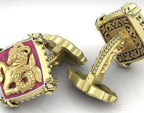 Zodiac signs Cufflinks Capricorn 3D print model