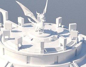 VR / AR ready Low Poly - city building - Mausoleum 3d 1