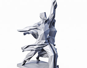 3D model Worker and Kolkhoz Woman USSR Sculpture Low Poly