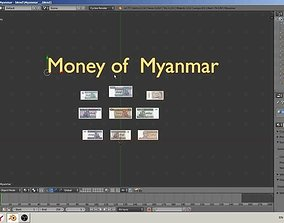 low-poly Paper - money models of Myanmar