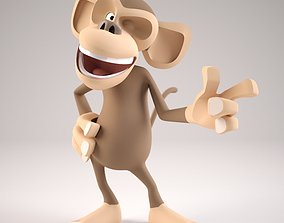 3D Cartoon Monkey Rigged Character model rigged