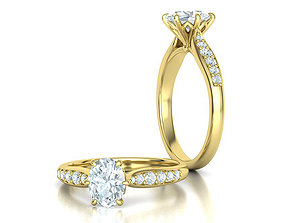 Solitaire Engagement Ring Oval Stone 8x6 3dmodel