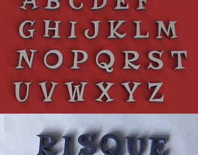 RISQUE uppercase and lowercase 3D Letters STL FILE
