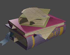 3D model Stylized cartoon books with hand paint texture