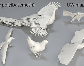 3D asset Birds - 5 pieces-low poly-part 2
