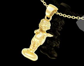 3D print model Angel on the heart V1 Pendant jewelry Gold