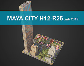 3D asset City District H12-R25 MAYA