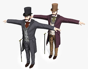 Victorian Gentleman STATIC not rigged - Low Poly 3D asset