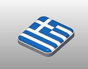 Cool Button Shaped Greece Flag 3D