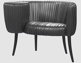 3D model Souffle Cocktail chair onyx ruched leather Kelly