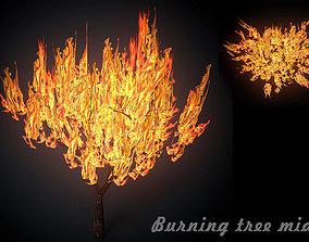 3D asset Burning tree mid