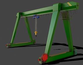 3D model PBR Single Girder Gantry Crane V1 - GREEN
