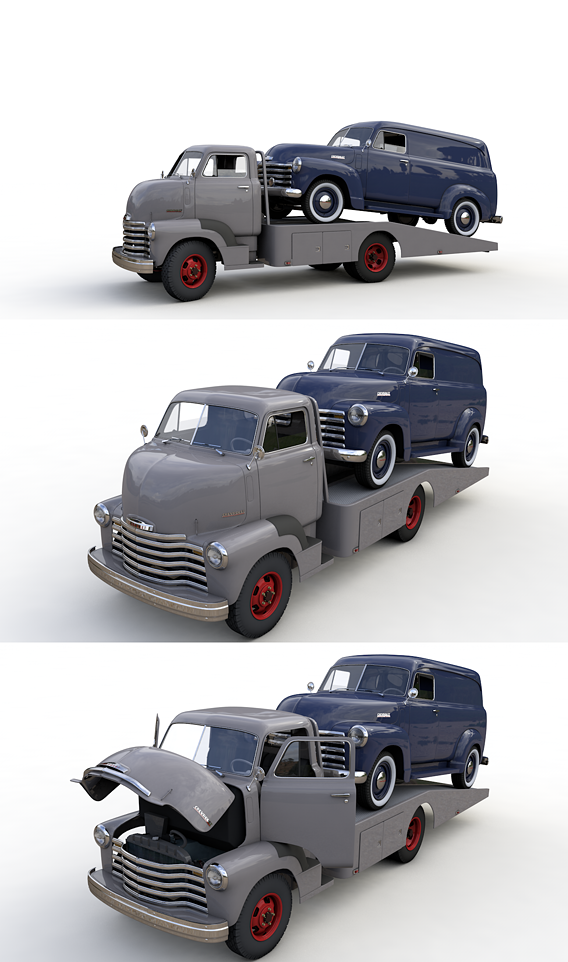 CHEVROLET COE TOW TRUCKER 1949 and 3100 PANEL TRUCK 1951