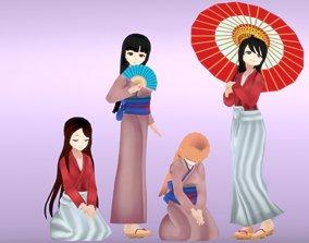 Kimono - Anime Girl Characters 3D model