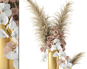 3D model Pale roses and Co in brass vases