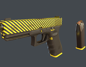 3D model Yellow Glock 17 with magazine