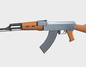 AK-47 Gun Low Poly 3D asset