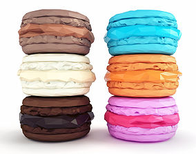 Macarons Low Poly 3D asset