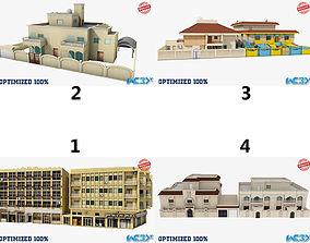Four Buildings Set 3D asset