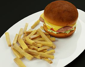 3D model cheese burger with fries tomatoes lettuce 3