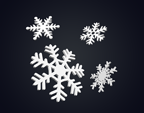 Snowflakes 3D model game-ready