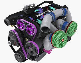 3D model Nissan RB26 DETT by HKS engine