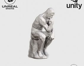 VR Sculpture The Thinker by Rodin Ultra-Low-Poly 3D model